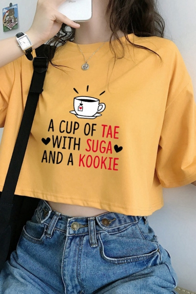 Streetwear Ladies Short Sleeve Round Neck Letter A CUP OF TAE WITH SUGA AND A KOOKIE Cup Graphic Relaxed Crop Tee
