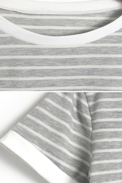 Womens Trendy Short Sleeve Round Neck Stripe Printed Contrast Piped Regular Fit Crop Tee Top