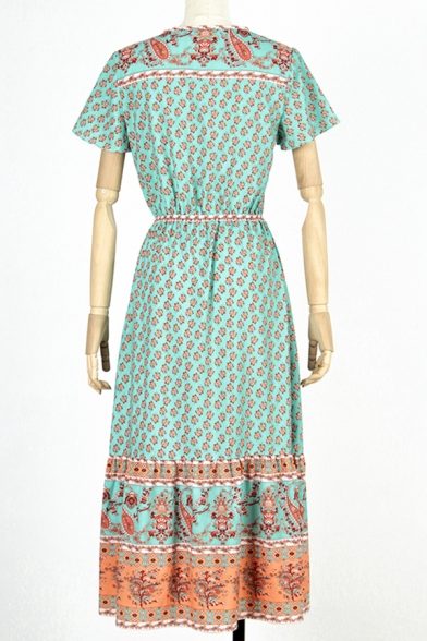 Bohemian Womens Bell Sleeve V-Neck Button Up Allover Floral Printed Ruffled Trim Maxi Pleated A-Line Beach Dress