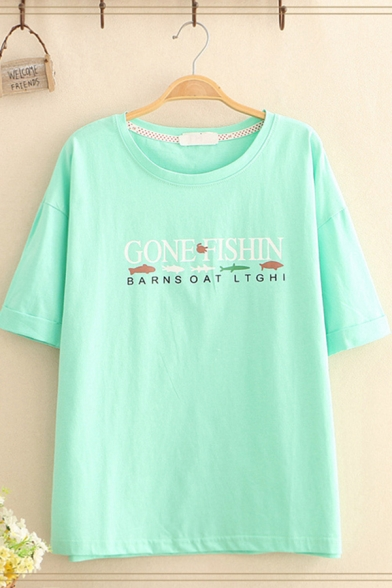 Girls Trendy Short Sleeve Round Neck Letter GONE FISHIN Print Loose Fit T-Shirt