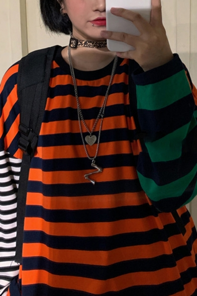 Hip Hop Girls Long Sleeve Crew Neck Stripe Pattern Patched Oversize Tee Top
