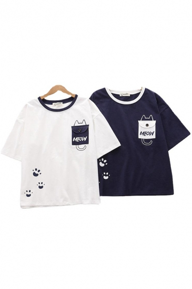 Girls Short Sleeve Round Neck Letter MEOW Pocket Cat Graphic Contrasted Relaxed T Shirt