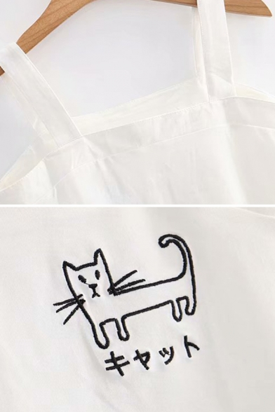 Japanese Letter Cat Embroidery Regular Fitted Crop Cute Tank Top for Women