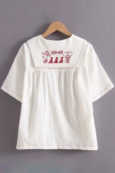 New Fashion Girls Short Sleeve Sailor Collar Cartoon Embroidered Contrast Piped Button Up Relaxed Shirt in White
