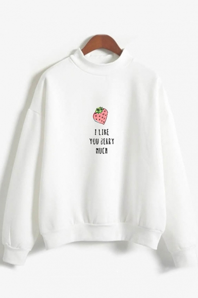 Popular Womens Long Sleeve Mock Neck Letter I LIKE YOUR BERRY MUCH Strawberry Graphic Loose Pullover Sweatshirt, Black;pink;white;gray, LC615733