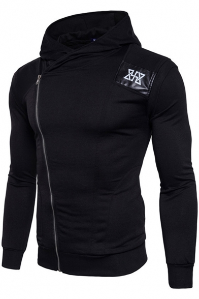 Active Guys Long Sleeve Oblique Zipper Geo Pattern Leather Patched Contrasted Slim Fit Hoodie