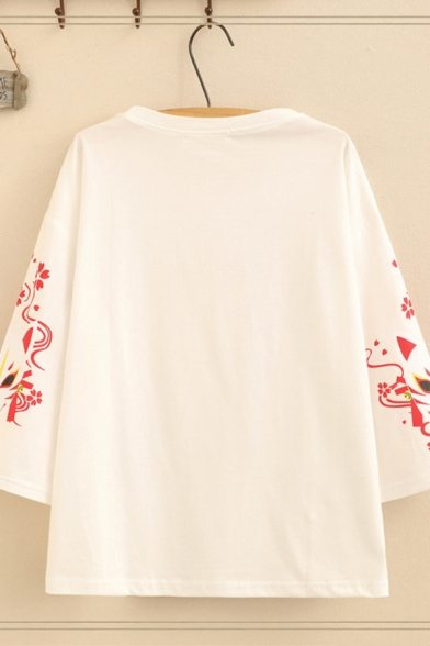 Harajuku Womens Three-Quarter Sleeve Round Neck Japanese Letter Cat Graphic Loose Fit Tee Top
