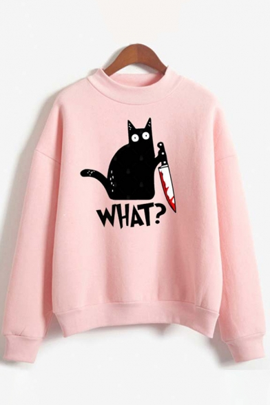 Pretty Girls Long Sleeve Mock Neck Letter WHAT Creepy Cat Graphic Loose Fit Pullover Sweatshirt, Blue;pink;white;gray, LC615752