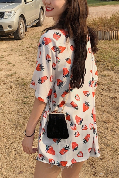 Pretty Girls Short Sleeve Lapel Neck Button Down All Over Strawberry Printed Loose Fit Shirt in White