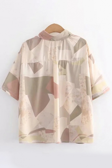 Womens Chiffon Allover Geo Printed Short Sleeve Point Collar Button up Loose Fit Popular Shirt Top