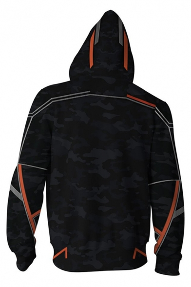 Anime Cool Long Sleeve Zipper Front Geo 3D Pattern Relaxed Cosplay Hoodie in Black