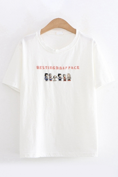 Cartoon Figure Letter Embroidered Patched Short Sleeve Round Neck Regular Fit Trendy T-Shirt for Women