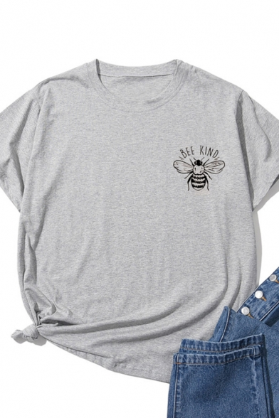 Casual Girls Short Sleeve Crew Neck Letter BEE KIND Bee Graphic Relaxed Fit T Shirt