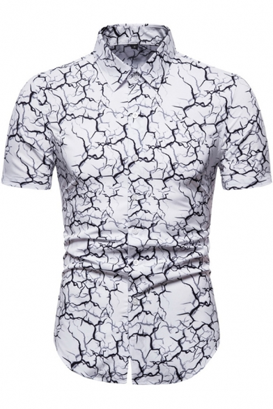 Chic Mens Short Sleeve Point Collar Button Down Abstract Printed Slim Fitted Shirt Top