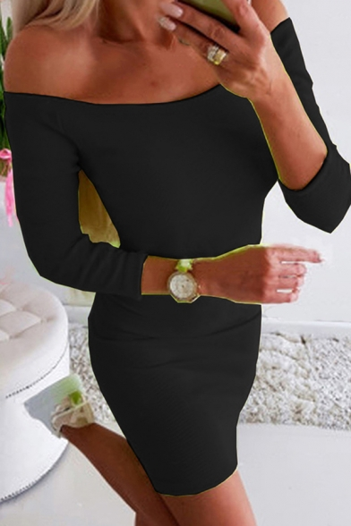 Elegant Womens Solid Color Long Sleeve Off the Shoulder Short Fitted Tee Dress