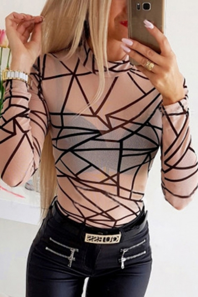 Popular Edgy Looks Long Sleeve Mock Neck Geometric Pattern Semi-Sheer Mesh Slim Fitted Tee Top in Khaki