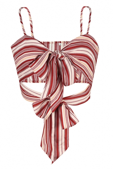 Sexy Street Girls Red Sleeveless Bow Tie Front Cut Out Stripe Print Fit Crop Cami
