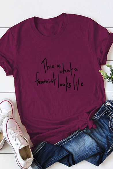 Casual Womens Short Sleeve Crew Neck Letter THIS IS WHAT A FEMINIST LOOKS LILE Slim Fitted Tee Top