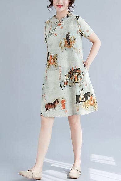 Chinese Style Womens Short Sleeve Mandarin Collar Oblique Frog Button All Over Cartoon Print Linen Mid Swing Cheongsam Dress in Beige