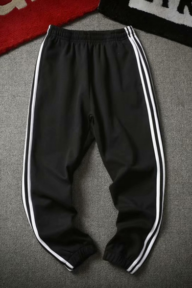 Classic Mens Drawstring Waist Stripe Print Contrasted Cuffed Tapered Fit Sweatpants
