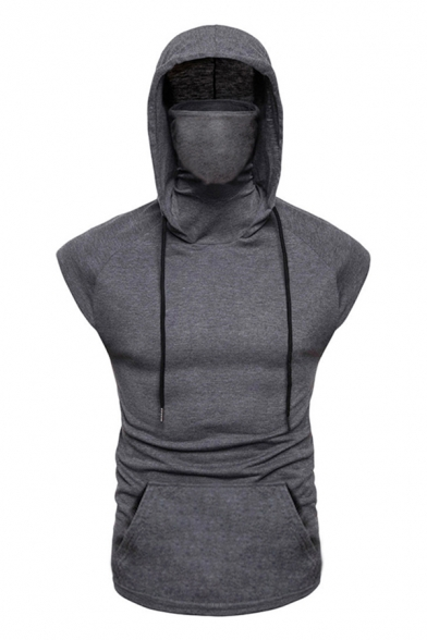 Cool Mens Sleeveless High Neck Hooded Drawstring Solid Color Pouch Pocket Fitted Tee Top