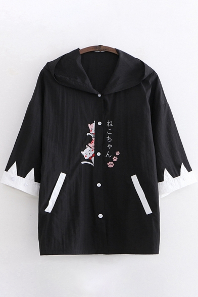 Harajuku Womens Three-Quarter Sleeve Hooded Button Down Japanese Letter Cat Embroidered Contrasted Relaxed Jacket