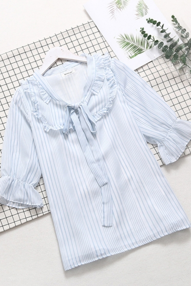 Ladies Pretty Light Blue Bell Sleeve Peter Pan Collar Bow Tie Stringy Selvedge Stripe Print Relaxed Blouse Top
