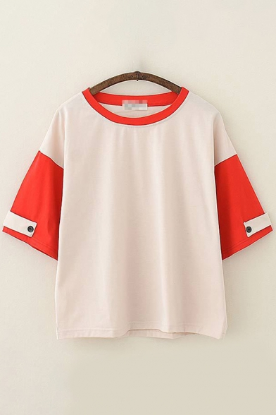 Leisure Trendy Beige Short Sleeve Round Neck Button Patched Colorblock Loose Fit Tee Top for Women