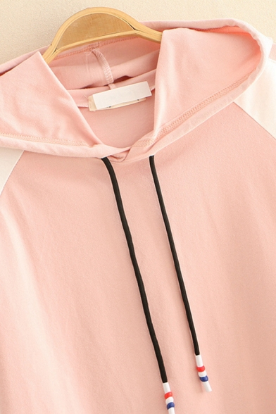 Preppy Girls Raglan Short Sleeve Hooded Drawstring Letter NEVER STOP Print Color Block Loose T-Shirt