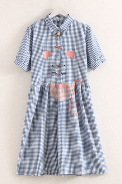 Womens Fashionable Short Sleeve Lapel Collar Button Up Pig Embroidered Bow Tie Patched Plaid Printed Midi Pleated Swing Shirt Dress