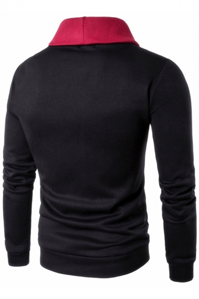Casual Mens Long Sleeve Turn Down Collar Zipper Front Colorblock Slim Fitted Hoodie with Pocket