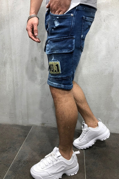 Chic Mens Mid Rise Flap Pockets Letter NO.1 Embroidered Ripped Bleach Fit Denim Shorts