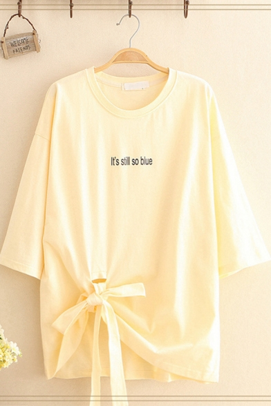 Chic Street Ladies Three-Quarter Sleeve Round Neck Letter IT'S STILL SO BLUE Print Bow Tie Hem Asymmetric Long Oversize Tee
