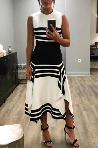Chic Womens Sleeveless Crew Neck Stripe Print Colorblocked Slit Sides Asymmetric Hem Long A-Line Dress