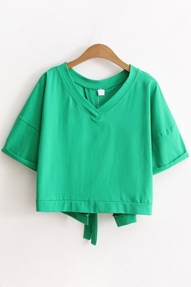 Fashionable Womens Solid Color Short Sleeve V-Neck Bow Tie Back Regular Fit Crop Tee