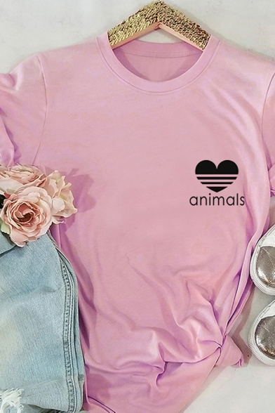 Girls Cool Rolled Short Sleeve Round Neck Letter ANIMALS Heart Graphic Relaxed Fit T Shirt
