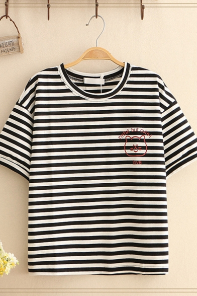 Leisure Classic Womens Short Sleeve Crew Neck Letter I'M FAT BUT CUTE LOVE Cat Stripe Graphic Relaxed T Shirt in Black
