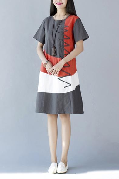 Popular Womens Short Sleeve Round Neck Chevron Print Colorblocked Linen Mid A-Line Dress