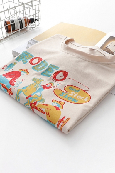 Popular Womens Short Sleeve Round Neck Letter RODEO Cartoon Graphic Loose Fit T-Shirt in Apricot