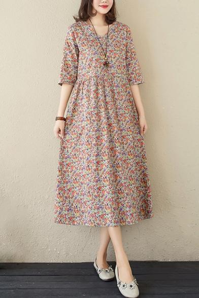 Pretty Ladies Half Sleeves V-Neck Ditsy Floral Print Linen Midi Swing Dress