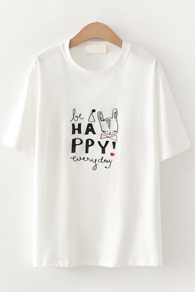 Simple Letter Happy Cartoon Embroidered Short Sleeve Crew Neck Loose Tee Top for Girls