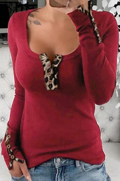 Stylish Ladies Long Sleeve Scoop Neck Button Up Leopard Print Patched Slim Fit T-Shirt