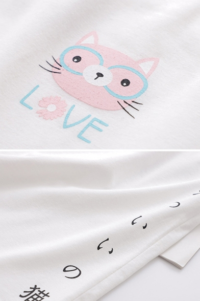 Summer Girls Letter Love Cat Graphic Relaxed Fit Fashionable Cami Top