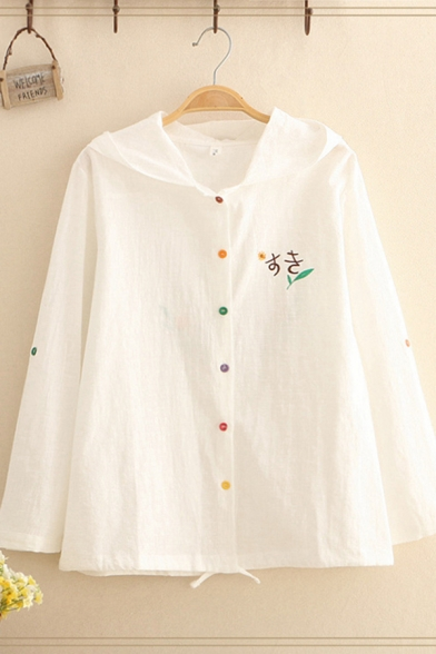 Womens Trendy White Long Sleeve Hooded Colorful Button Down Japanese Letter Floral Embroidered Drawstring Hem Loose Jacket