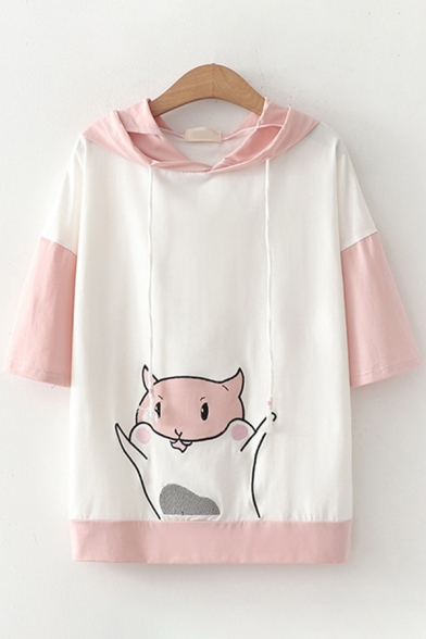 Cartoon Animal Printed Contrasted Half Sleeves Drawstring Hooded Loose Fit T Shirt for Preppy Girls