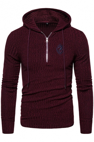 Casual Mens Long Sleeve Half Zipper Logo Embroidery Drawstring Knitted Slim Fit Hoodie