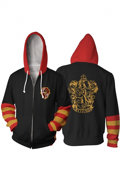 Cool Popular Mens Long Sleeve Drawstring Zipper Front Varsity Stripe Cartoon Letter KAVENCLAW Graphic Loose Hoodie
