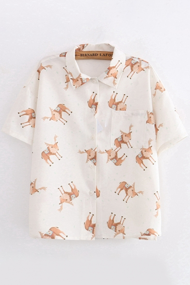 Pretty Womens Short Sleeve Lapel Neck Button Up All Over Deer Pattern Chest Pocket Relaxed Shirt