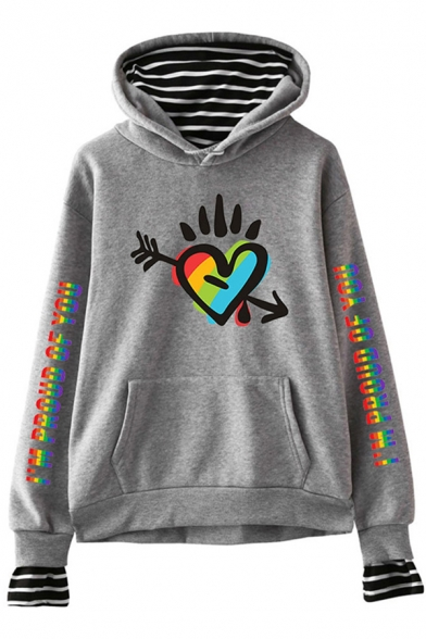 Streetwear Unisex Long Sleeve Drawstring Heart Letter Flower Lip Graphic Striped Patched Pouch Pocket Fit Hoodie