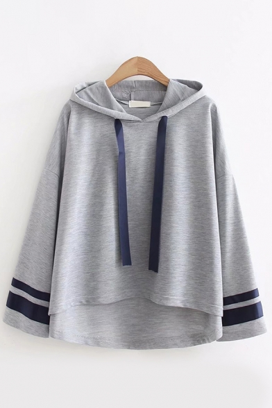 Women's Trendy Color Block Drawstring High Low Striped Long Sleeve Hooded Relaxed Fit T-Shirt